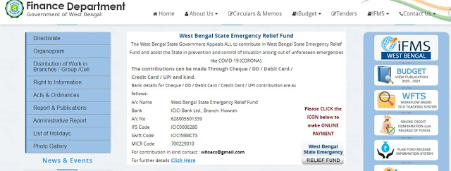 Emergency Fund of the  West Bengal Govt for Donate against fight Coronavirus,it is humble requested to all of people to donate to the Chief Ministe's Emergency Fund for fight against Coronavirus