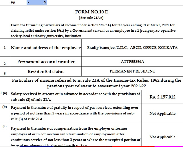 Income Tax Form 12 BA