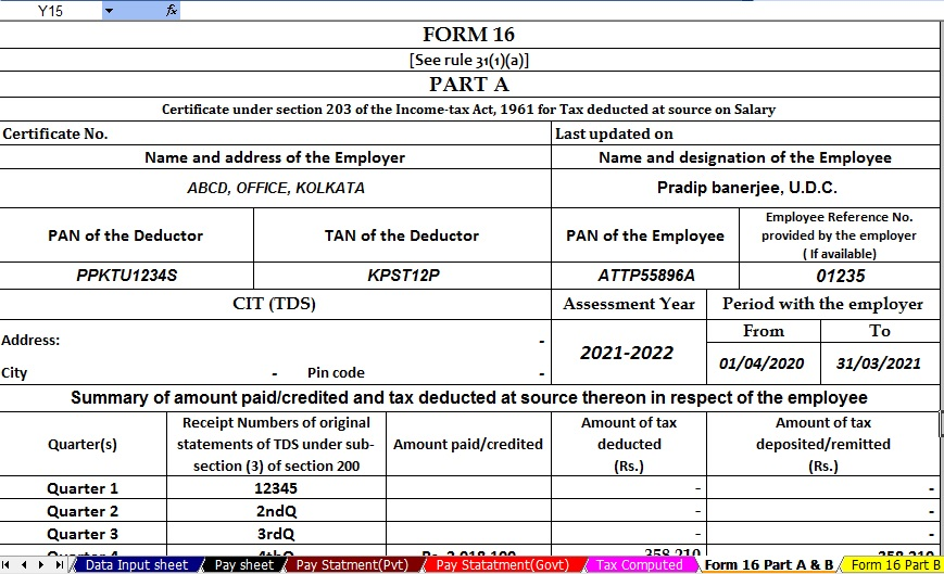 Income Tax Revised Form 16 Part A&B for F.Y.2020-21