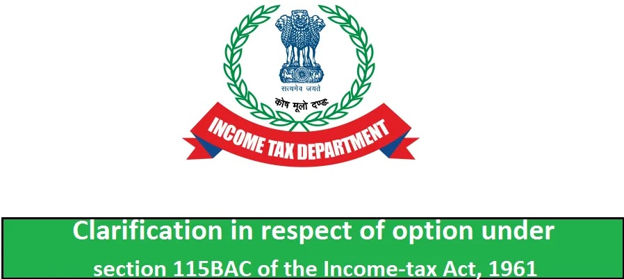 New Income Tax Section 115 BAC
